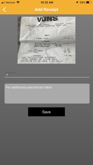 Provider receipt with photo