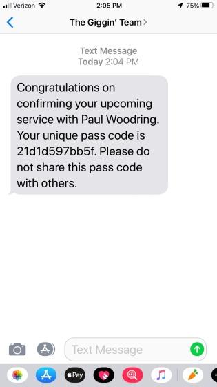 pass code text